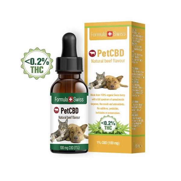 Ulei CBD cu aroma de vita pt Animale, picaturi 1% (100 mg)